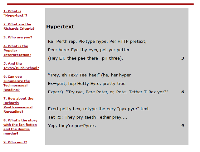 "A screenshot of the home page of Richard Holeton's Frequently Asked Questions about ""Hypertext."""